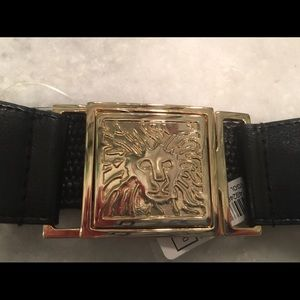 NWT ANNE KLEIN BLACK & GOLD LION SIGNATURE BELT S